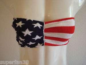 Strapless tube top US flag bra cotton light/ dark blue