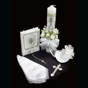 Silver Plated Baptismal Gift Set in Spanish with Decorated