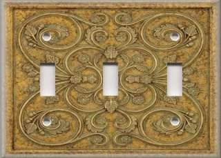 Light Switch Plate Cover   Wall Decor   French Pattern   Golden Yellow