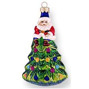 Glass Christmas Ornament, Treetop Santa, Exclusive Mold