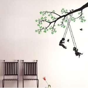 Modern House Kids Tree Swing removable Vinyl Mural Art Wall Sticker