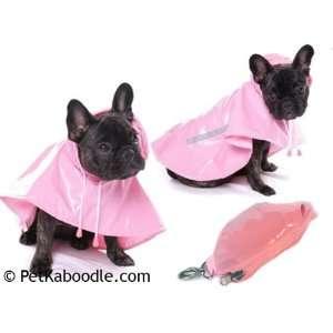 Pink Portable Travel Hooded Rain Coat Dog Jacket Poncho Size 18