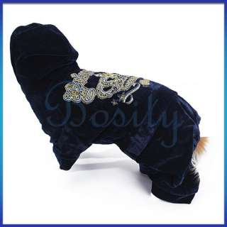 Puppy Pet Dog Hooded Autumn Coat Velour Jumpsuit Sports Costume