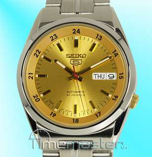 SEIKO 5 MENS LATEST AUTOMATIC STUNNING YELLOW GOLD TONE FACE SNK565J1