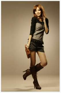 New Korea Womens Lady Noble Retro Twinset 2pcs Tops T shirts Blouses