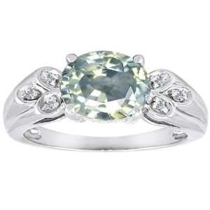 CandyGem 14k Gold Genuine Oval Green Amethyst and Diamond