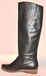 LUCKY BRAND Azura Black Leather Knee High Wedge Heeled Boots 6M $179