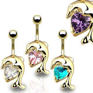 GOLD PLATED DOLPHIN HEART BELLY NAVEL RING GEM CZ CRYSTAL BUTTON