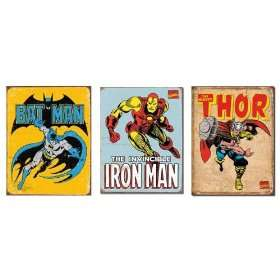 Marvel SuperHeros set of 3 Signs Batman, Thor, Iron Man