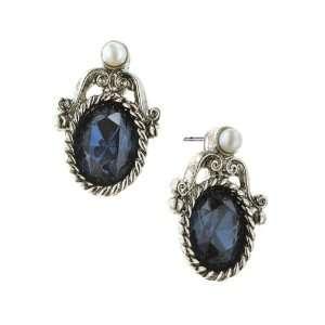 Bellissimo Silver Antiqued Blue Crystal Stud Earrings