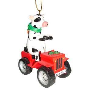 Holiday Cow on Noel ATV Four Wheeler Christmas Ornament