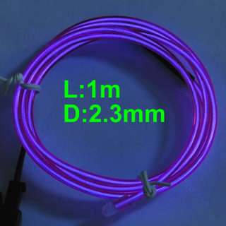 Light Glow EL Wire Rope Tube Car Party Bar 1M+Driver Purple