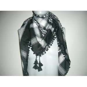 Premium high quality Black and White Arabic scarf. Shemagh