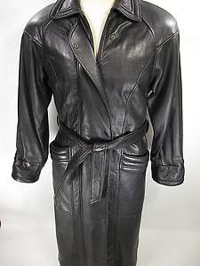 TIBOR Black SOFT LEATHER Coat Overcoat mens SMALL