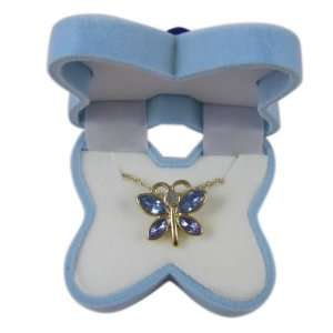 Fashion Jewelry   Lovely Baby Blue Gem Butterfly Necklace