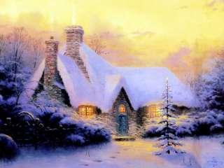 Thomas Kinkade Oil Painting Christmas Snow Scenes 36×24