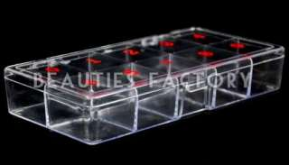 LARGE EMPTY 10 SPACE Nail Art TIP STORAGE BOX CASE 363A