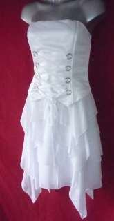 Corset LaceUp Strapless White Tiered Wedding Cocktail Dress 8