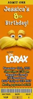 Dr Seuss The Lorax Movie Birthday Party Ticket Invitations Cat In the