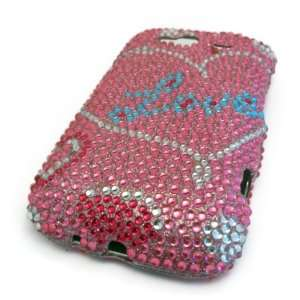 HTC Wildfire S Pink Love Heart Bling Jewel Gem Case Cover