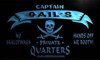 Captain Quarters Pirate Beer Man Cave Bar Beer Neon Light Sign