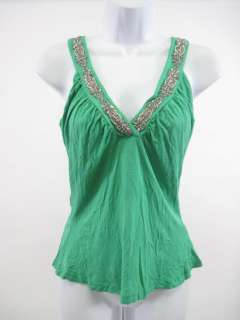 REBECCA BEESON Green Beaded Sleeveless Shirt Top Sz 3