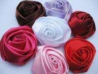 Big Satin 4d Rose 3 Craft Wedding Hair Bow Headband 7 Colors RF122