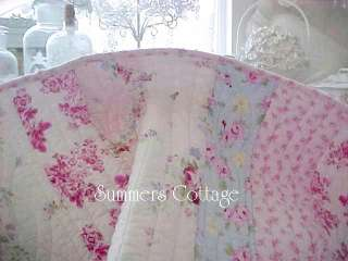 SHABBY BEACH COTTAGE BLUE PINK ROSES CHIC TWIN QUILT