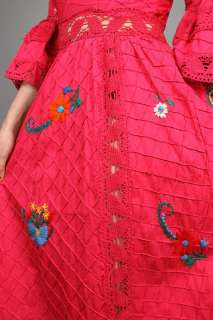 CROCHET Embroidered FLORAL Lantern Hippie BOHO Maxi DRESS XS M
