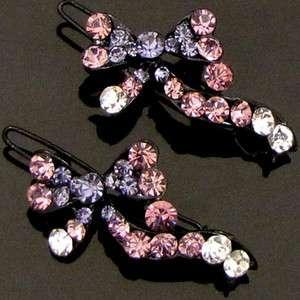 SHIPPING 2 pc Austrian rhinestone crystal bow tie hair clip pin