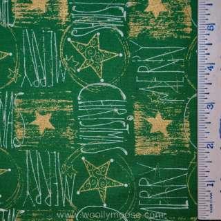 Fabri Quilt SEASONS GREETING Christmas METALLIC Gold STAR Fabric 1/2YD