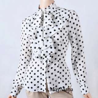 Chiffon Ruffle Front High neck polka dot Print Top Shirt Blouse S M L