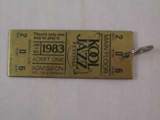 Vtg 1983 Kool Cigarettes Jazz Festival Metal Ticket Key Ring Chain