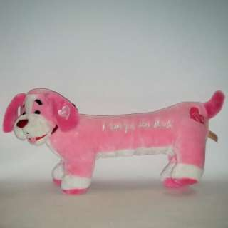 LOVE YOU THIS MUCH Pink LONG Puppy Dog Hearts Anniversary Plush 25