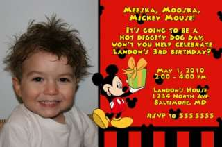 Print Your Own Custom Photo Mickey Mouse Invitations