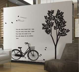 Wall Decor Decal Sticker Removable Vinyl tree and bike