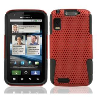 MB860 2 in1 Hybrid Cover Case Red/Black + Screen Protector