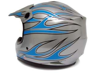 YOUTH SILVER BLUE FIRE DIRT BIKE ATV MOTOCROSS HELMET~S