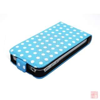 Blue POLKA DOT LEATHER FLIP CASE COVER POUCH FOR iPhone 4S 4 4G