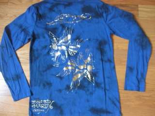 NWT KIDS ED HARDY BLUE LONG SLEEVE EAGLE SHIRT SZ SM