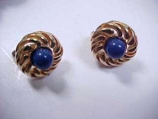 Vntg AVON Lapis Blue Bead Gold Tone Necklace & Earrings