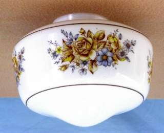 Replacement White Glass Ceiling Light Globe w/ Floral Design