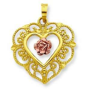 14k Two Tone Lace Trim And Pink Rose Center Heart Pendant