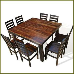 Large Family 9pc Solid Wood Dining Room Table & Chair Set NEW