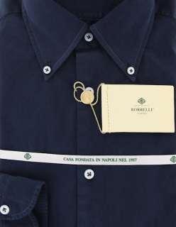 New $425 Borrelli Navy Blue Shirt 16/41
