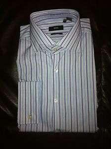 NWT Authentic Black Hugo Boss Jacco Blue Stripes Dress Shirt Multiple
