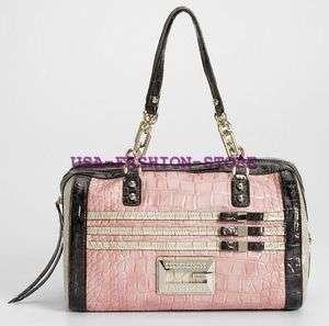 GUESS HANDBAG SATINE BOUDOIR BOX BAG PURSE PINK ROSE G