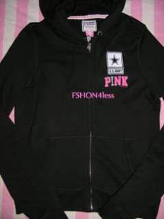 VICTORIAS SECRET PINK US ARMY Hoodie SWEAT SHIRT TOP Large Patches