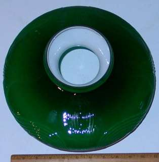 """10"""" fitter Green Cased Glass Swag Oil Lamp GWTW Parlor Student shade"""