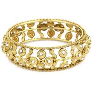 From Ragas To Rock Swar Gold and Crystal Bangle Bracelet Jewelry